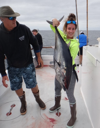 Jackie's got a bluefin tuna AND a new pair of lady boots! Thank you Xtratuf!