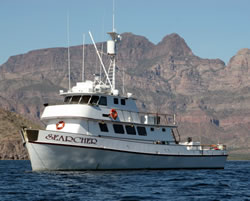 Searcher is a US Coast Guard SOLAS (Safety of Life At Sea) and FCC inspected and certified sportfishing vessel.